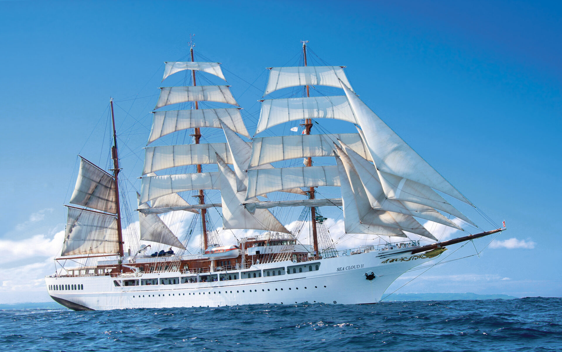 White tall masted ship
